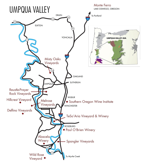 Umpqua Oregon Map.Downloadable Maps Southern Oregon Winery Association Your Guide